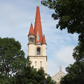 winona, minnesota, wesley, united, methodist, church, bell, tower