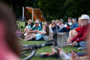 kid, parent, festival, crowd, sitting