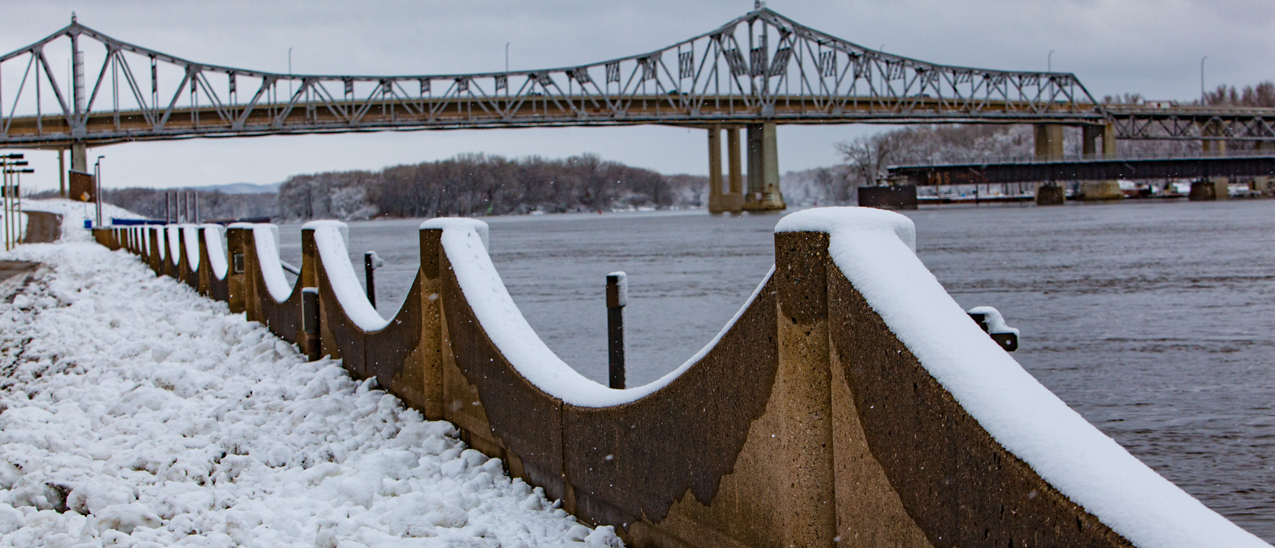 snowy winona and mississippi river scene